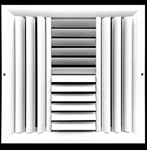 """14""""w X 14""""h 4-Way Aluminum Curved Blade Adjustable Air Supply HVAC Diffuser - Full Control Vertical/Horizontal Airflow Direction - Vent Duct Cover [Outer Dimensions: 15.65""""w X 15.65""""h]"""