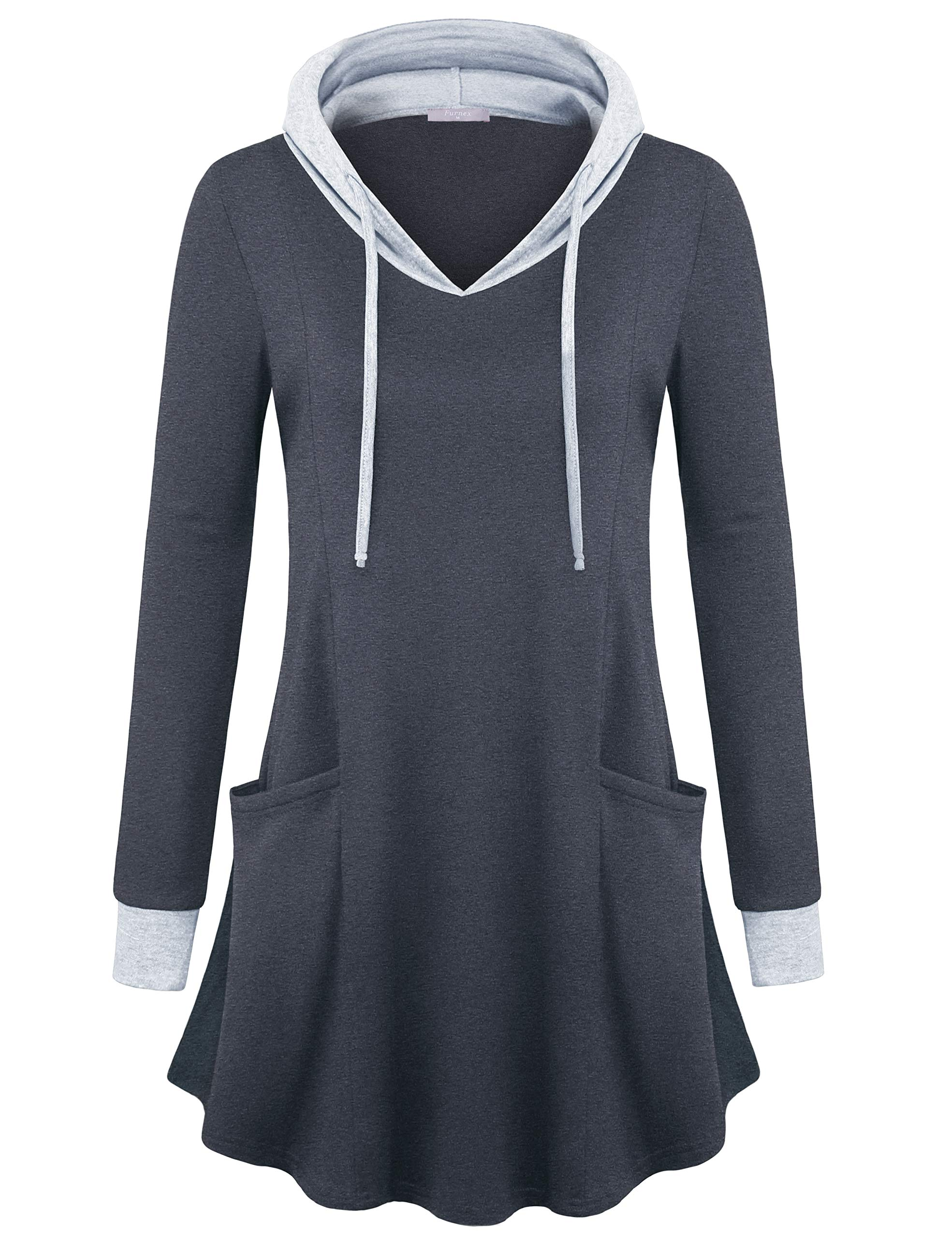Furnex Sweatshirt Dresses, Ladies Cute Long Sleeve Pullover Tunic Hoodies Pocket V Neck Dressy Shirts Carbon Black Large