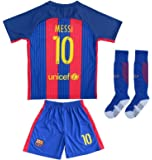 2016/2017 BARCELONA #10 LIONEL MESSI HOME SOCCER JERSEY & SHORTS YOUTH SIZES