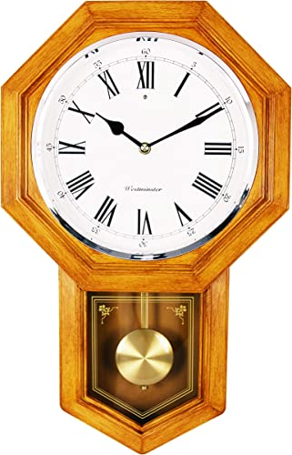 BESTIME School House Pendulum Wall Clock. Light Wood Finish. Westminster Chime.