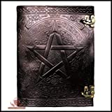 Handmade Black Pentagram Embossed Leather Journal Pentacle Book of Shadows Notebook Diary Appointment Organizer Daily Planner Office Diary Wicca Pagan 10 x 13 inches
