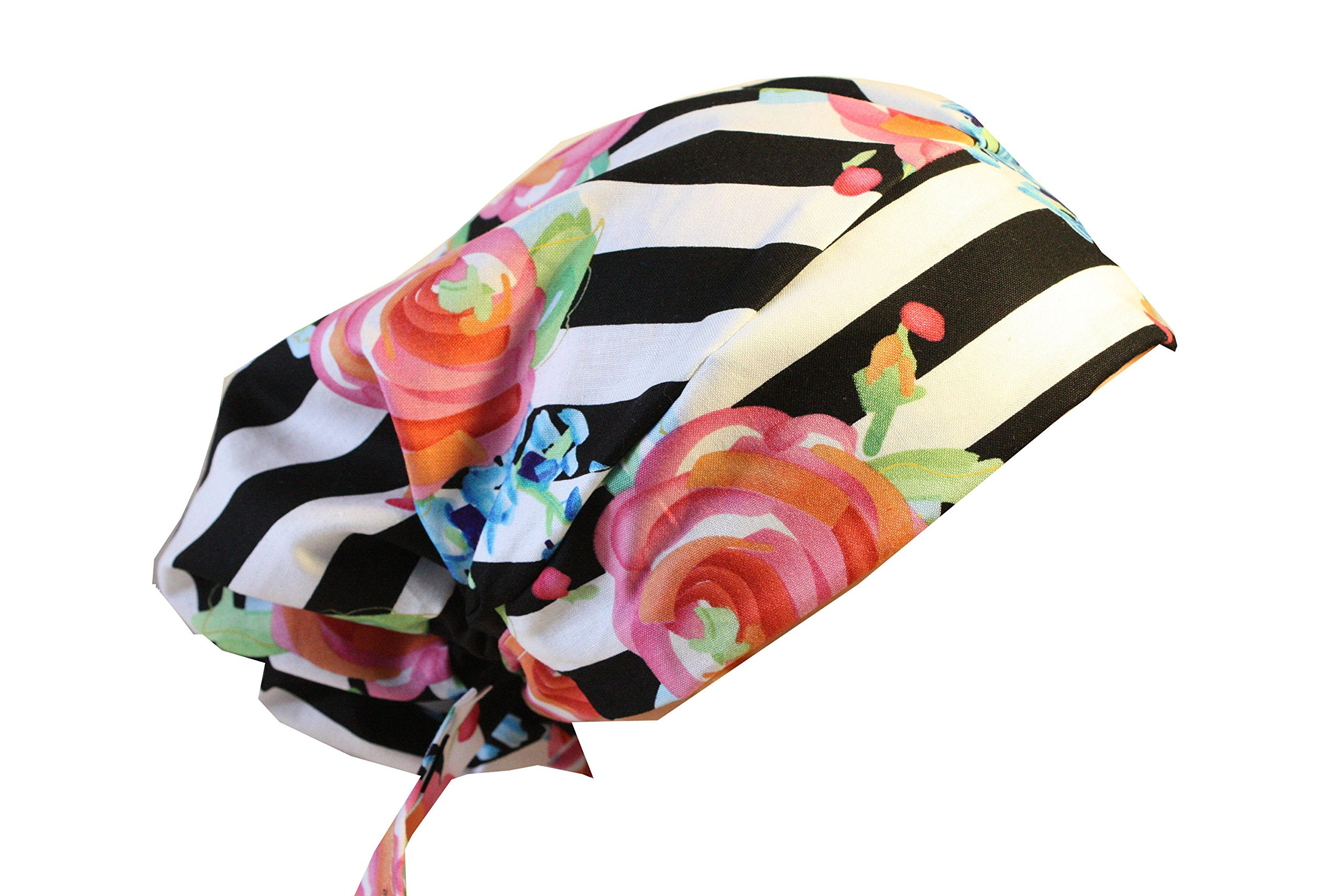 Scrub Hat Chemo Cap NEW European BOHO Pixie Bad Hair Day MANY Colors (striped rose)
