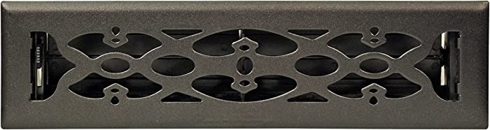 Accord AMFRBLV212 Floor Register with Victorian Design, 2-Inch x 12-Inch(Duct Opening Measurements), Matte Black