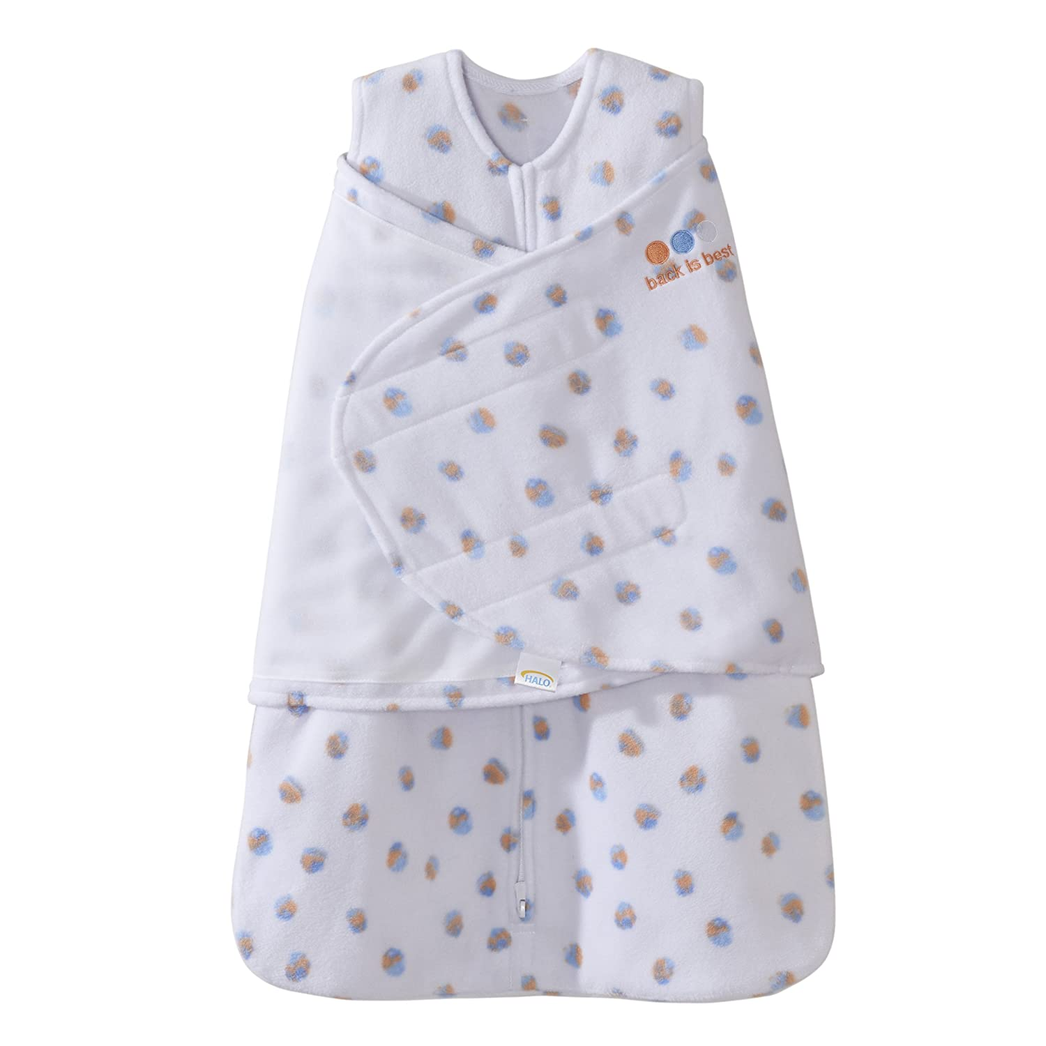 Halo Sleepsack Swaddle, Micro-Fleece, Blue/Orange, Newborn 0-3 Months Best For Baby 12889