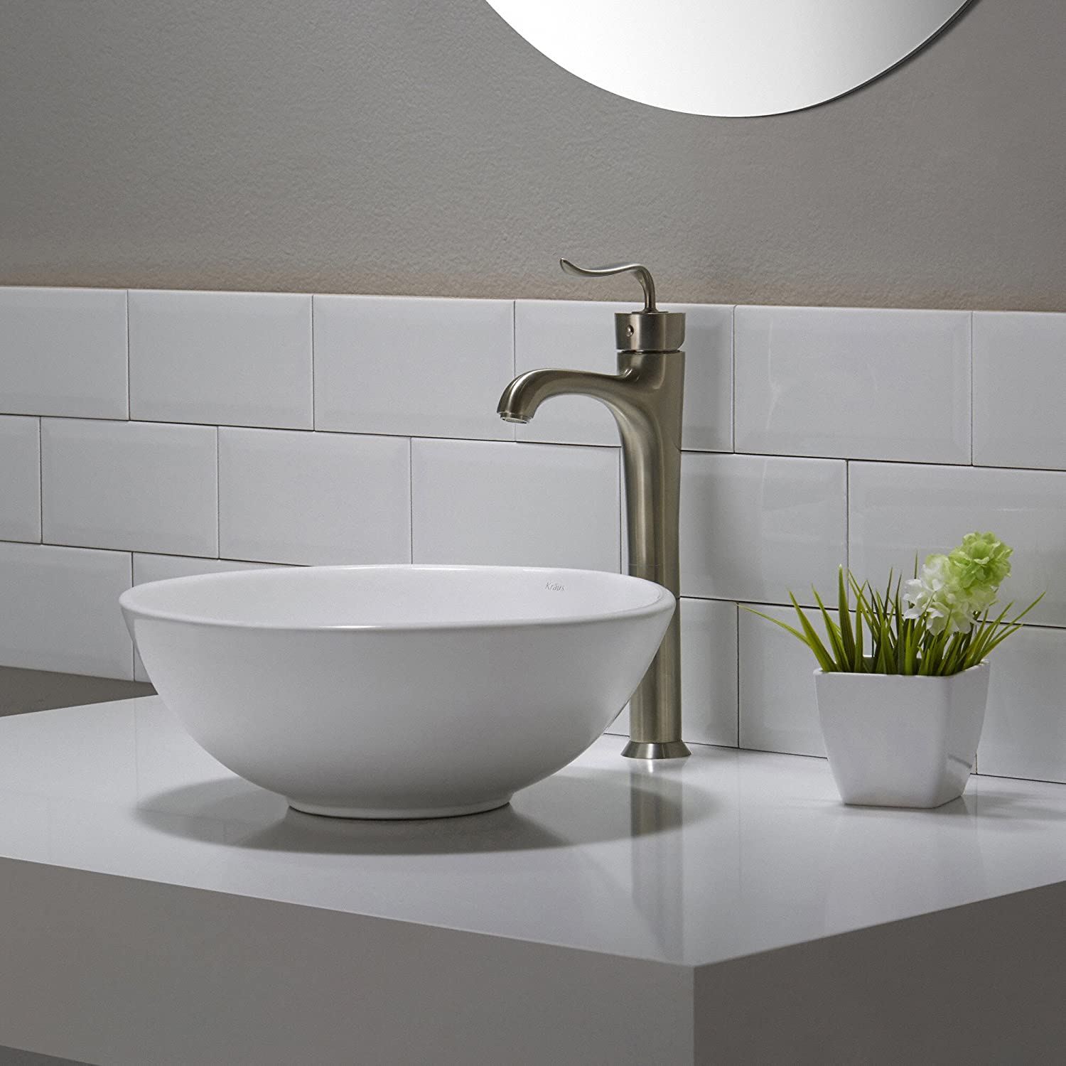 Beau Kraus KCV 341 Elavo White Ceramic Small Round Vessel Bathroom Sink      Amazon.com