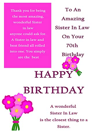 Sister In Law 70th Birthday Card With Removable Laminate