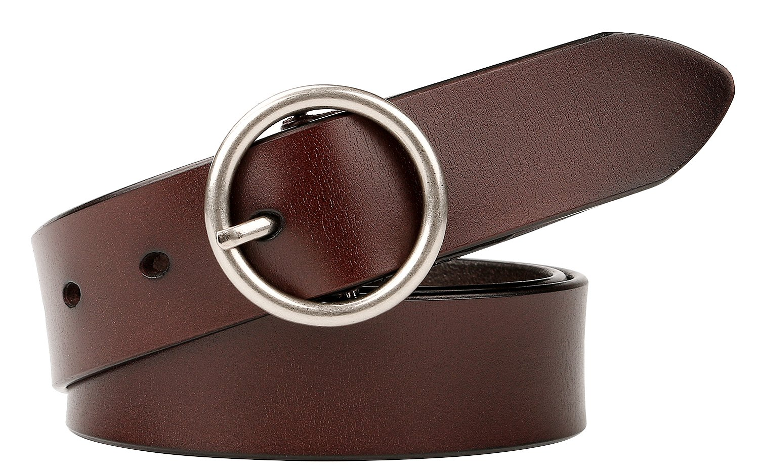 WERFORU Women Casual Dress Belt Genuine Leather Belt with Round Buckle (Suit Pant Size 24''-28'', Style1-03-Coffee)