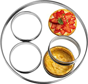 "NewlineNY Stainless Steel 5 Pcs double rolled edges Circular Round Tart Rings, Molding, Plating, Set of 5 : 1 x (28cm 11"") + 4 x (10cm 4"") x (2.2cm 1"" H)"