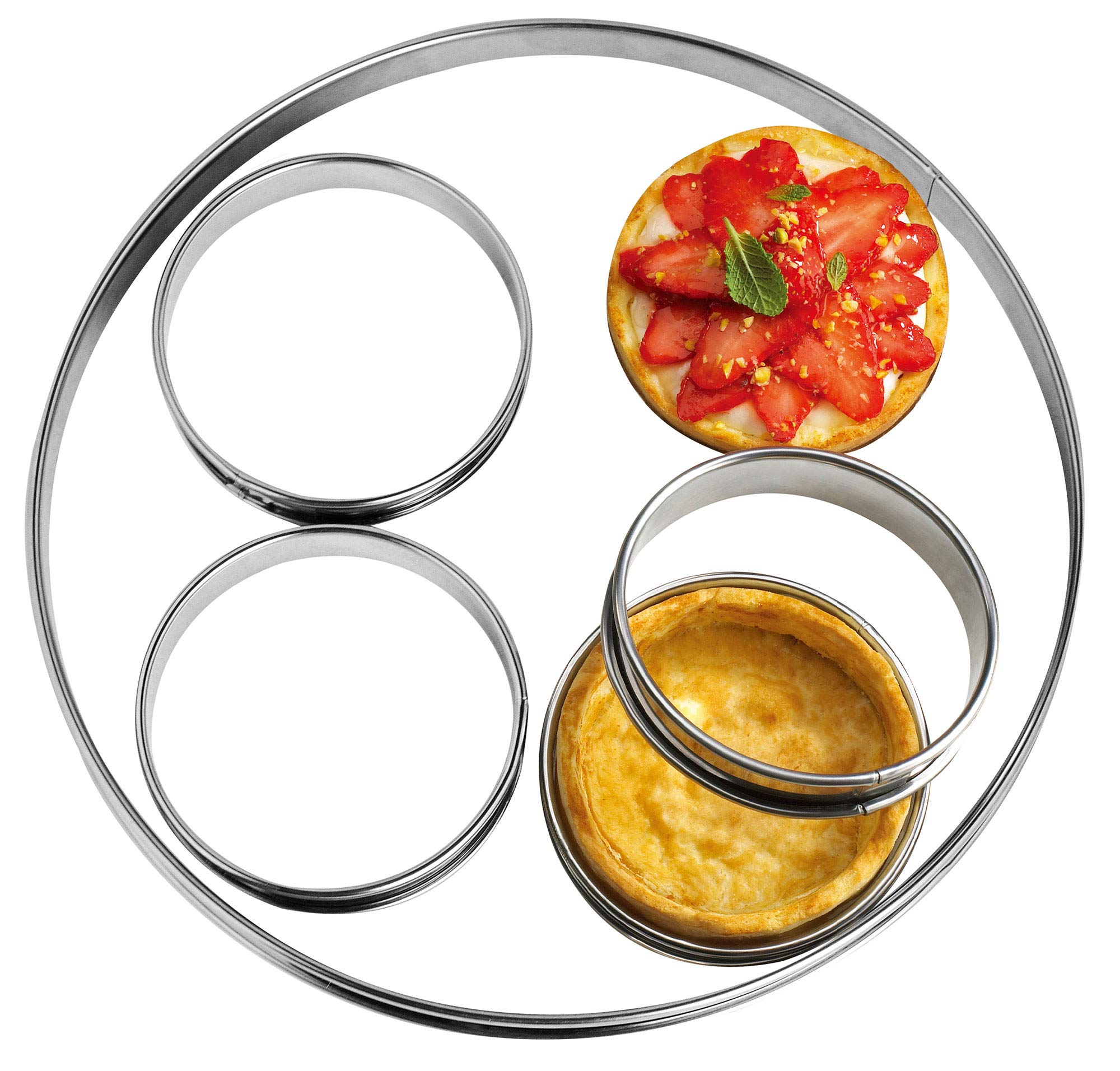 NewlineNY Stainless Steel 5 Pcs Circular Round Tart Rings, Molding, Plating, Set of 5 : 1 x (28cm 11'') + 4 x (10cm 4'') x (2.2cm 1'' H)