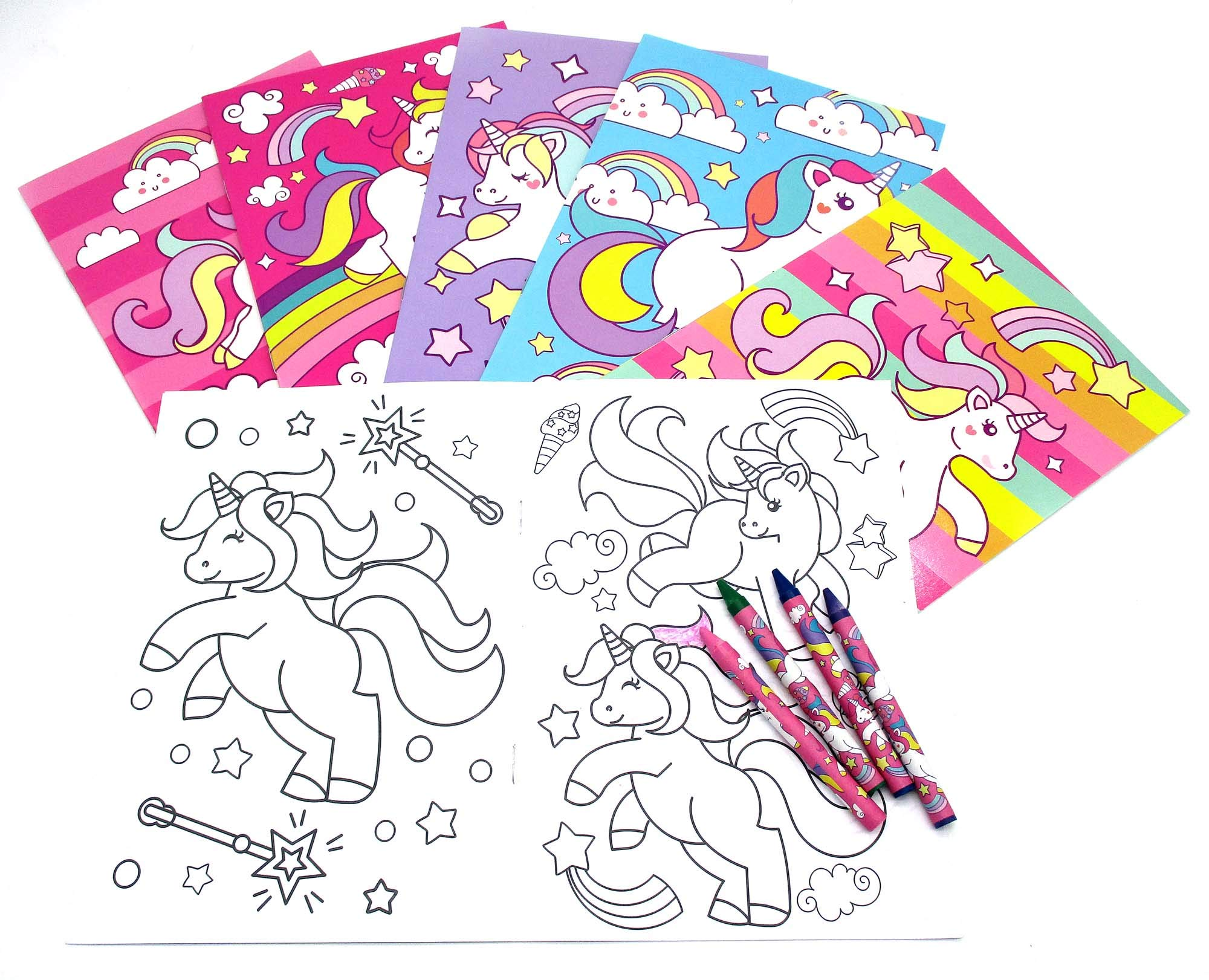 Unicorn Coloring Books with Crayons Party Favors, Set of 12 3