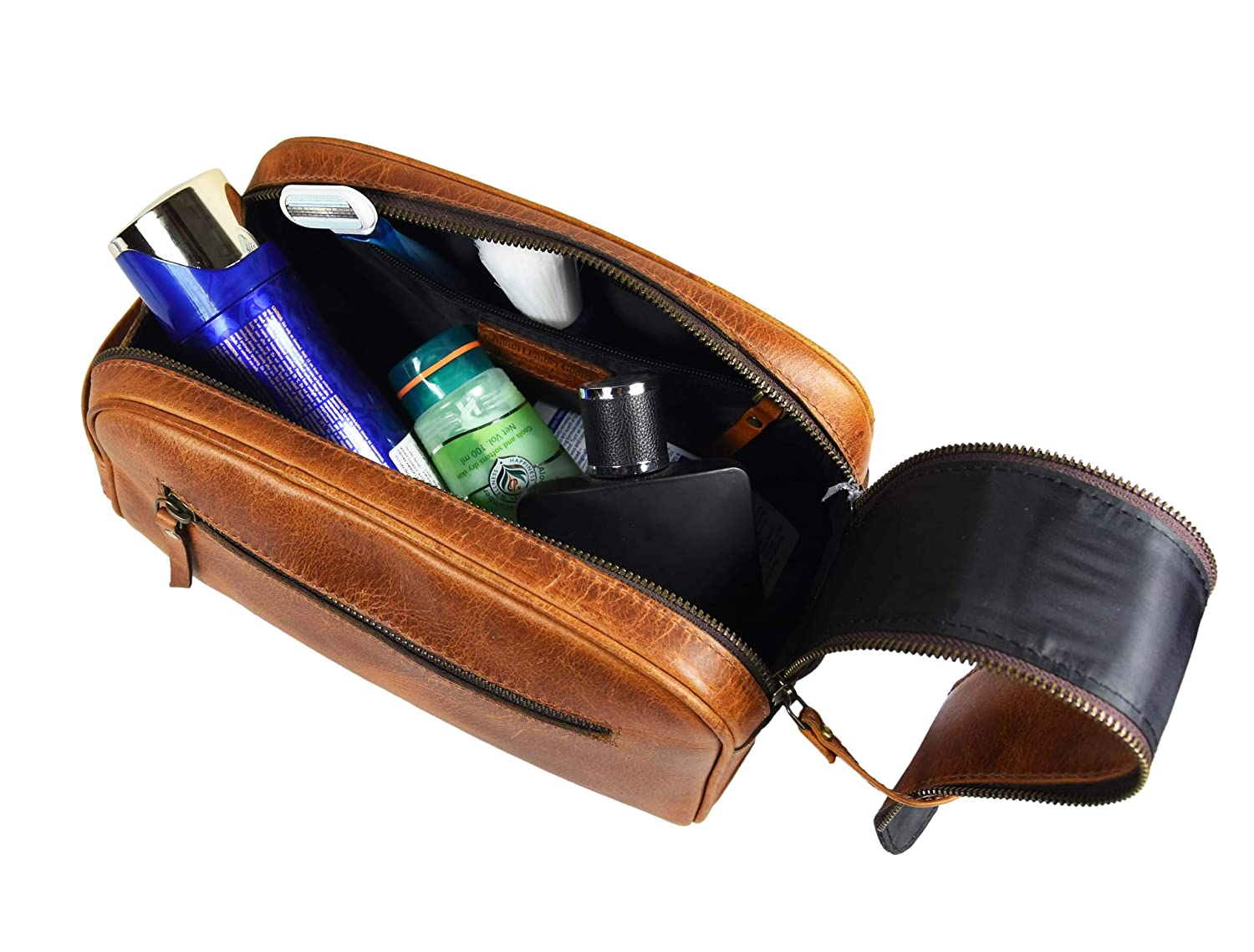 Caramel - Dual Zipper King-Size Handcrafted Vintage Dopp Kit By Aaron Leather Goods 10 Premium Leather Toiletry Travel Pouch With Waterproof Lining