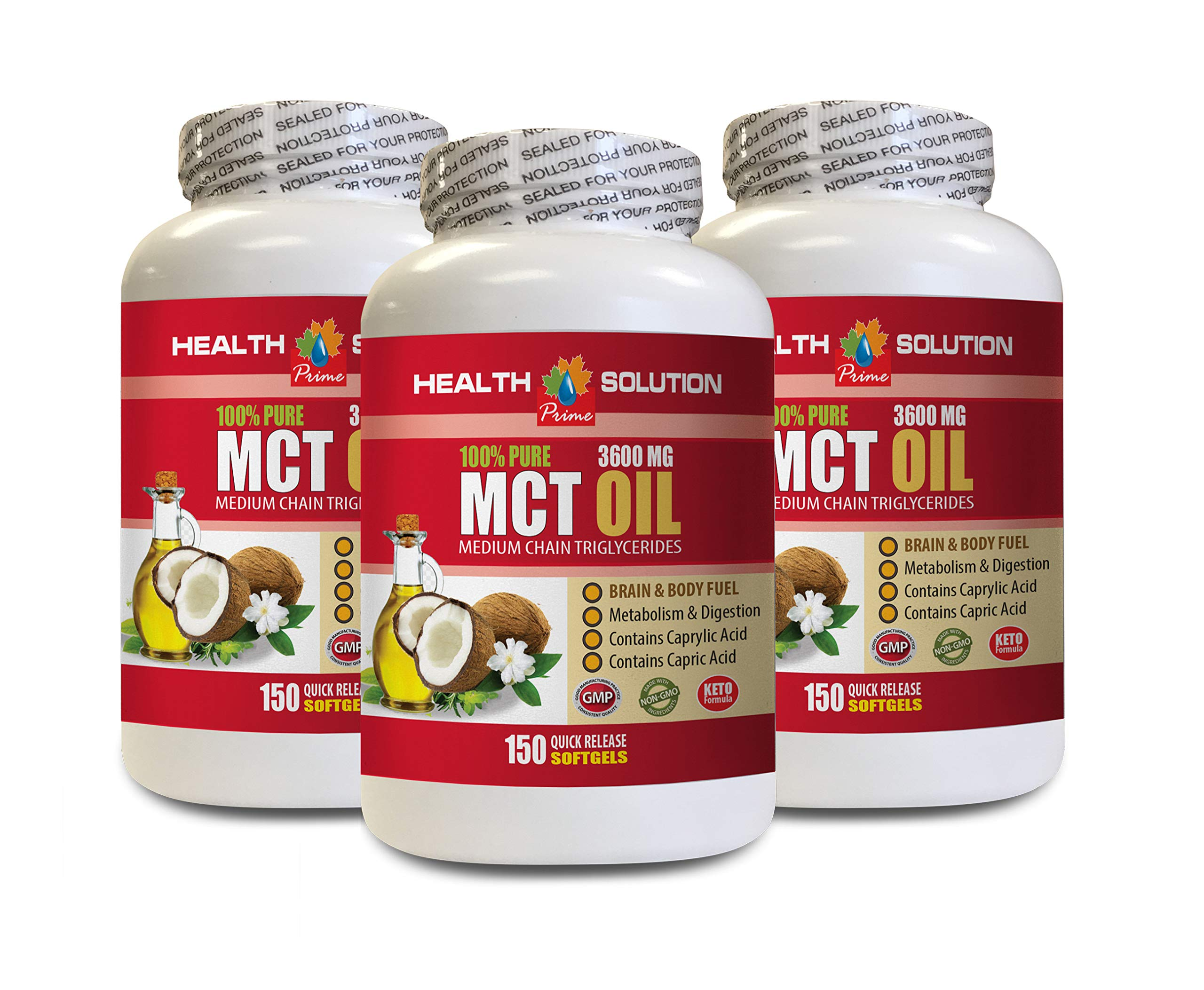 Metabolism Booster for Weight Loss for Women - MCT Oil 3600MG - 100% Pure - mct Oil Capsules for Weight Loss - 3 Bottles 450 Softgels by Health Solution Prime