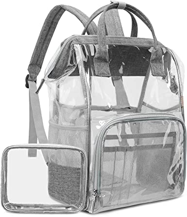 LOKASS Large Clear Backpack Transparent Multi-pockets Backpacks//Outdoor Backpack