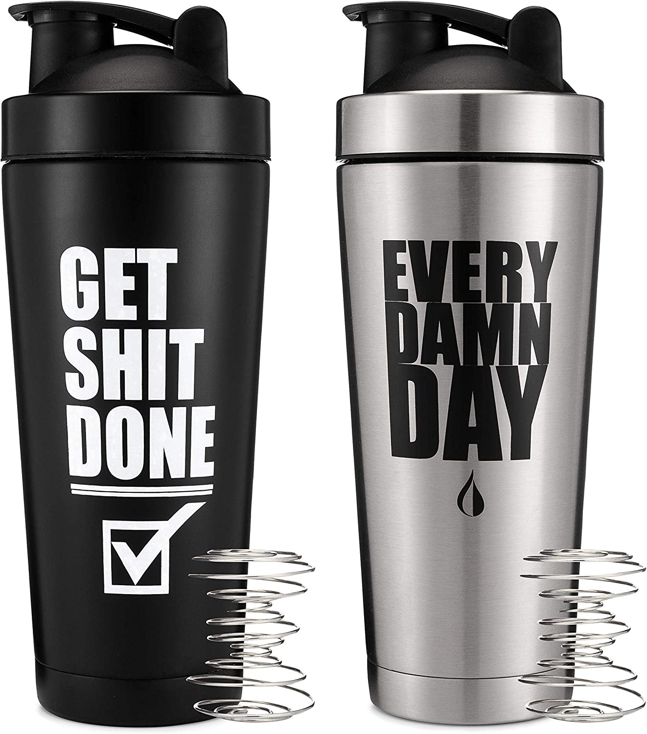 2 Pack, 24oz Insulated Stainless Steel Shaker Bottle, Double Walled Vacuum Protein Shaker Cup, Get It Done & Every Day