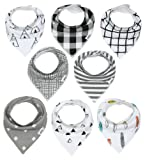 Amazon Price History for:Baby Bandana Drool Bibs with Snaps, 8-Pack Organic Absorbent Drooling & Teething Bib Set by Matimati (Monochrome)
