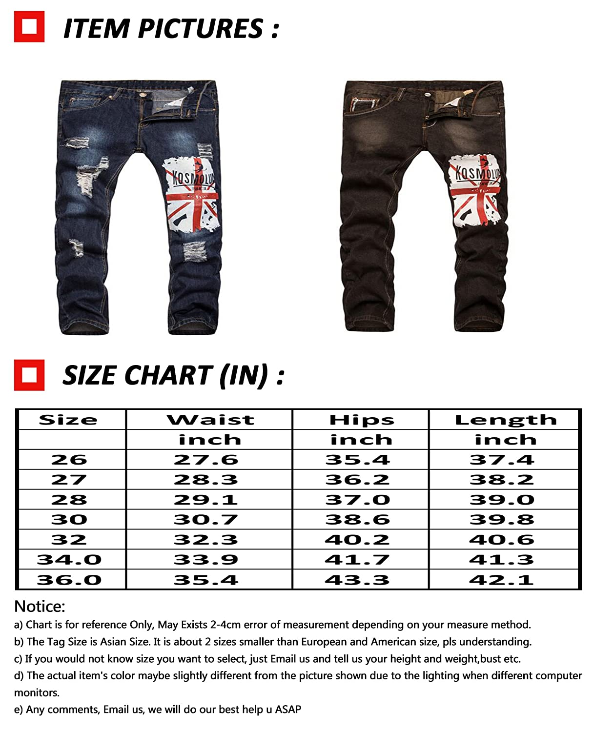 SoEnvy Mens Skinny Fit Prints Jeans Ripped Distressed Holes Denim Pants