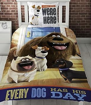 Character World Vida Secreta de Mascotas Solo Panel Funda nórdica Cama, diseño con Perros Cada Perro Tiene su día.: Amazon.es: Hogar
