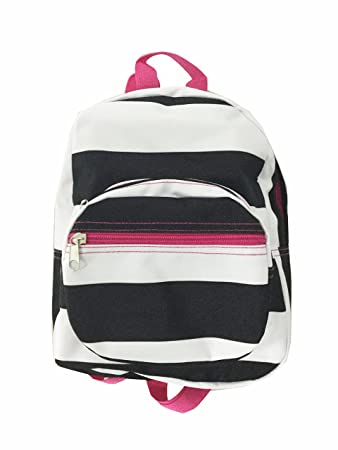 1609f820304 Amazon.com   Mini Backpack - Striped - Black   White wth Pink   Kids   Backpacks