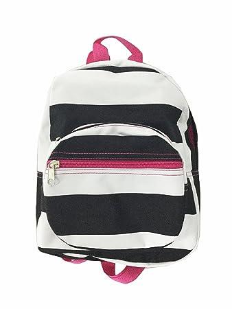 1609f820304 Amazon.com   Mini Backpack - Striped - Black   White wth Pink   Kids   Backpacks