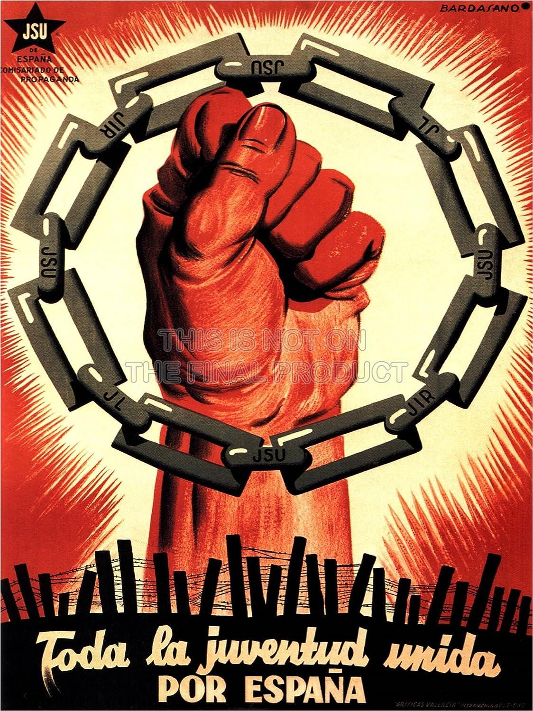 WAR PROPAGANDA SPANISH CIVIL YOUTH JSU COMMUNIST REPUBLICAN ...