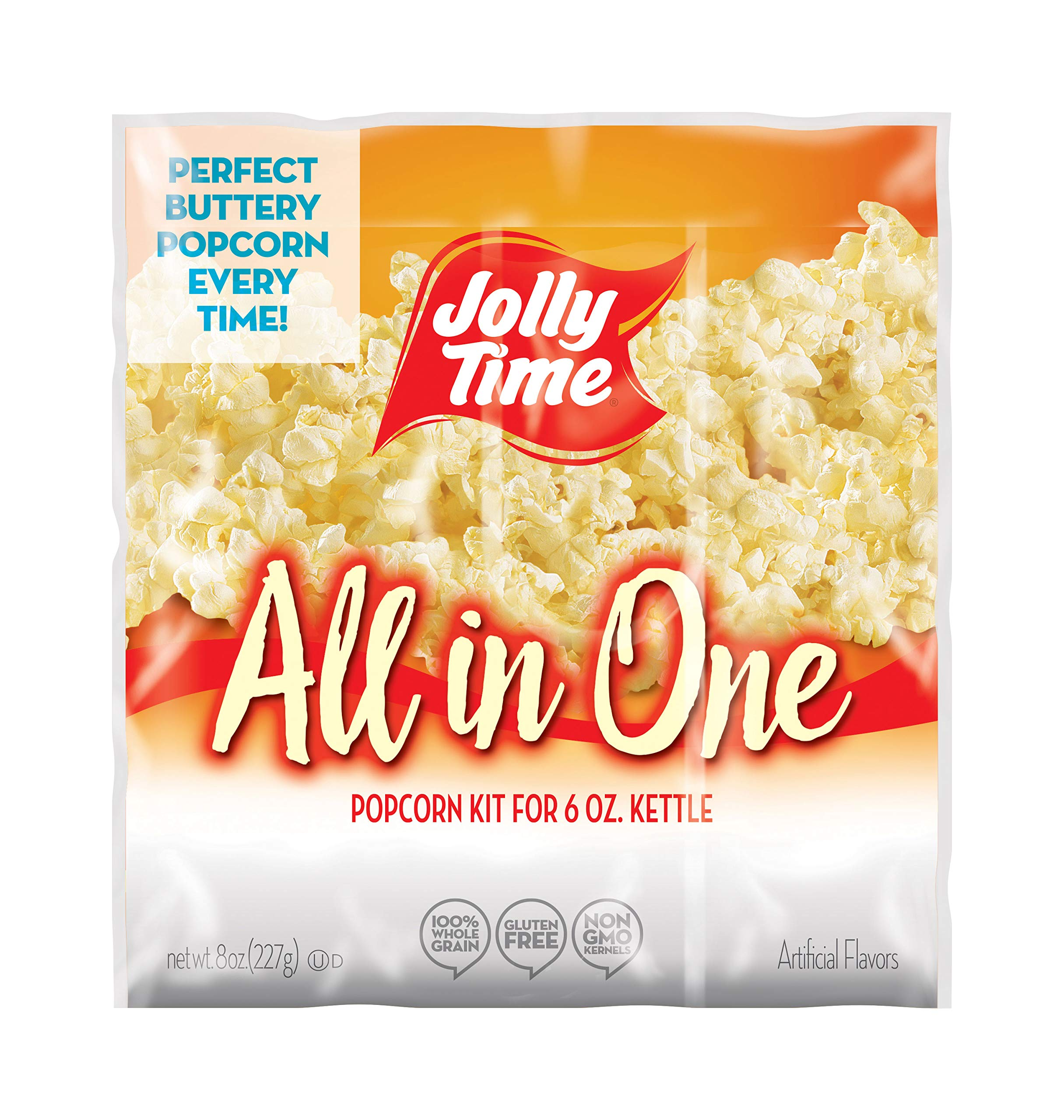 JOLLY TIME All in One Kit for 6 oz. Popcorn Machine | Portion Packet with Kernels, Oil and Salt for Commercial, Movie Theater or Air Popper (Net Wt. 8 oz. Each, Pack of 36) by Jolly Time (Image #1)