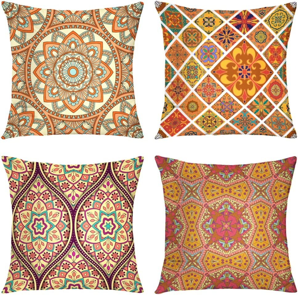 Suesoso Decorative Pillows Case,4 Pillow Set,Ornamental Arabic Asian Batik Retro Floral Mandala Throw Pillowcovers 20 x 20 inch,Cushion Decorative Home Decor Nice Gift Garden Sofa Bed Car