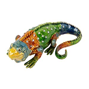 QIFU-Hand Painted Enameled Lizard Style Decorative Hinged Jewelry Trinket Box Unique Gift for Home Decor