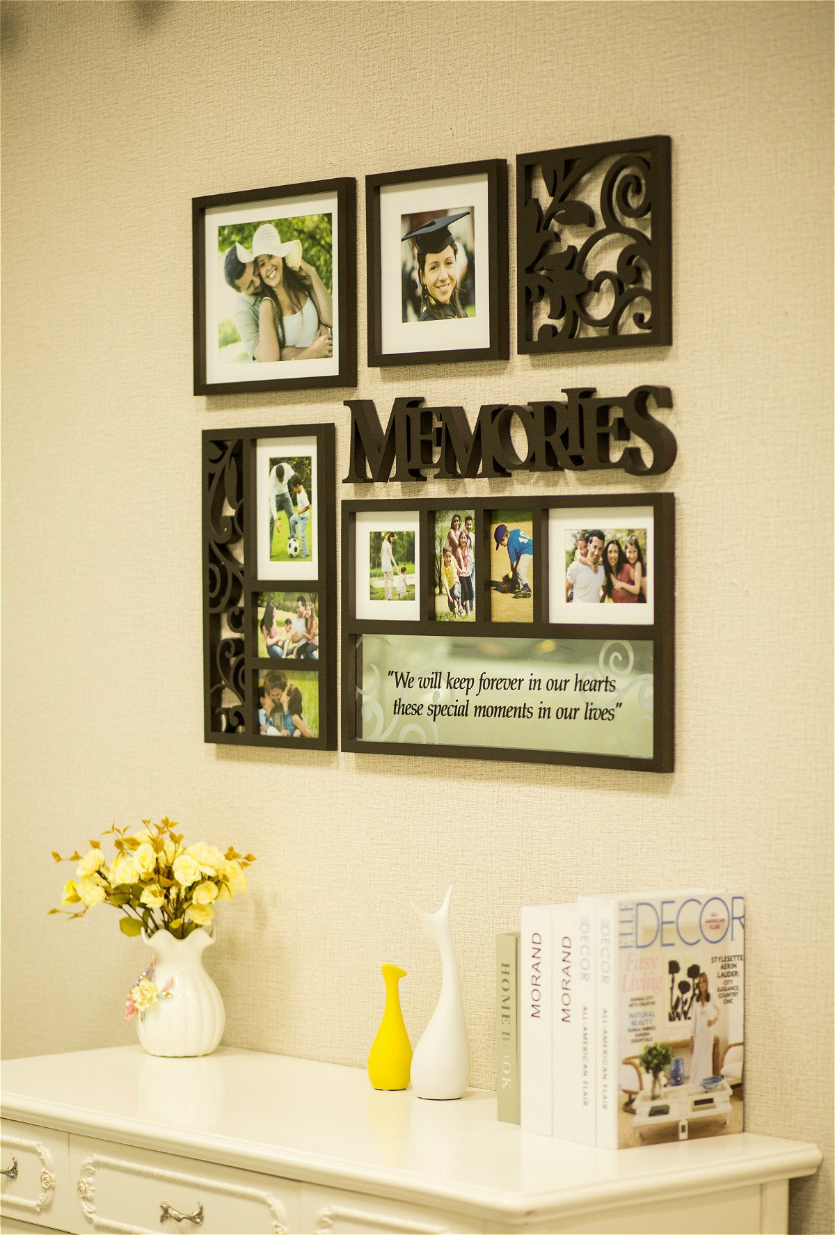 Picture Frame Set on Wall Art Decoration Sticker in Family Living Room and Bedroom (Memories)