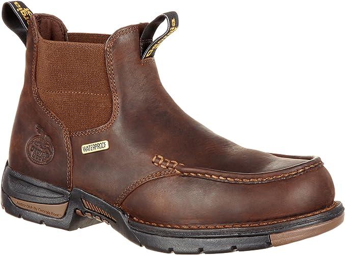 Amazon Com Georgia Boot Men S Athens Chelsea Waterproof Work Boot Gb00156 Industrial Construction Boots