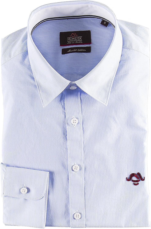 Camisa sport rayas azules slim fit algodón (L): Amazon.es: Ropa
