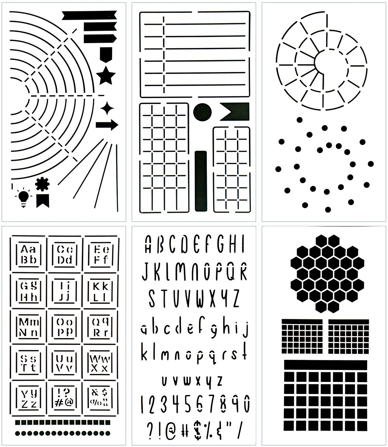 Ultimate Productivity Journal Stencil Set - Custom-Designed Supplies for Bullet Dotted Journal Planners, DIY Templates to Create Calendars, Lists, Letters, Numbers, Habit Trackers by Sunny Streak: Kitchen & Dining