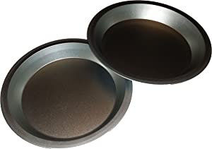 Two 9 inch Pie Pans a Heavy weight steel none stick bakeware set with even heating (Standard version)