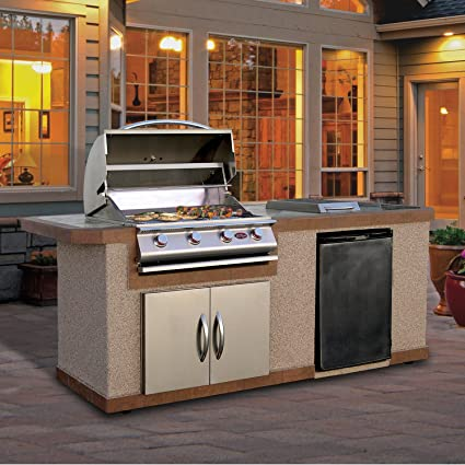 Cal Flame Outdoor Kitchen Island LBK-710-A with 4-Burner Built in Grill,  30\