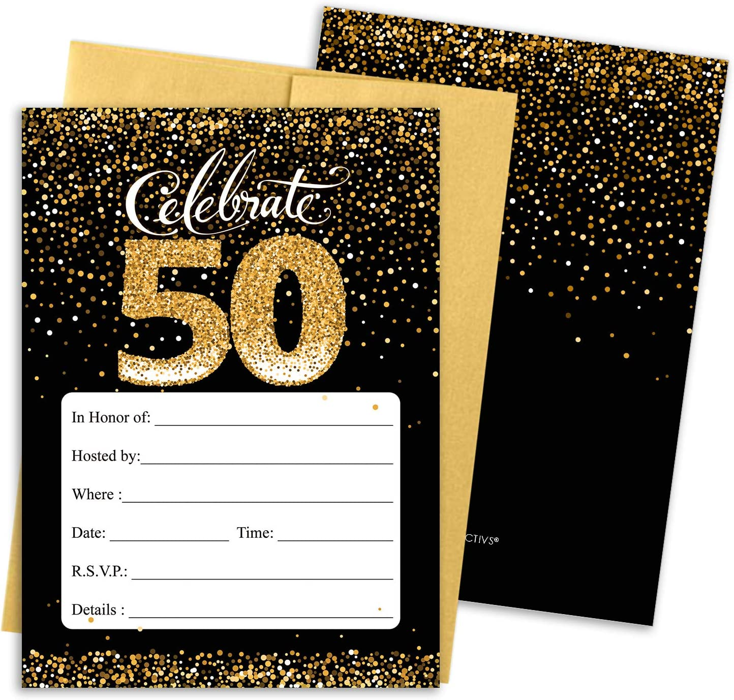 Amazon.com: Black and Gold 50th Birthday Party Invitations - 10 Cards with  Envelopes: Health & Personal Care