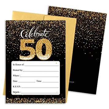 Image Unavailable Not Available For Color Black And Gold 50th Birthday Party Invitations