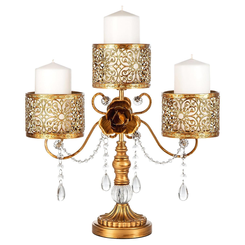 Amazon.com: Amalfi Décor Victoria Antique Gold Metal 3 Pillar Candle ...