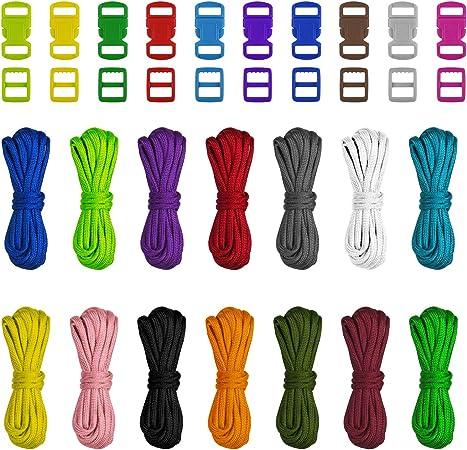 Matogle 14 Piezas Kit Cuerda de paracaídas Cuerdas Multicolores con 40 Piezas Hebillas de Bricolaje Cuerda de Pulsera para Actividades al Aire Libre ...
