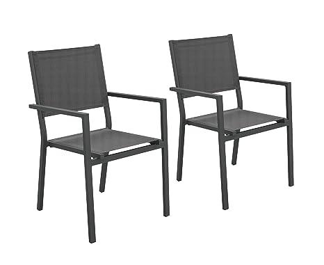 Hevea 2 sillones Bora Antracita Aluminio/textilén Comedor ...
