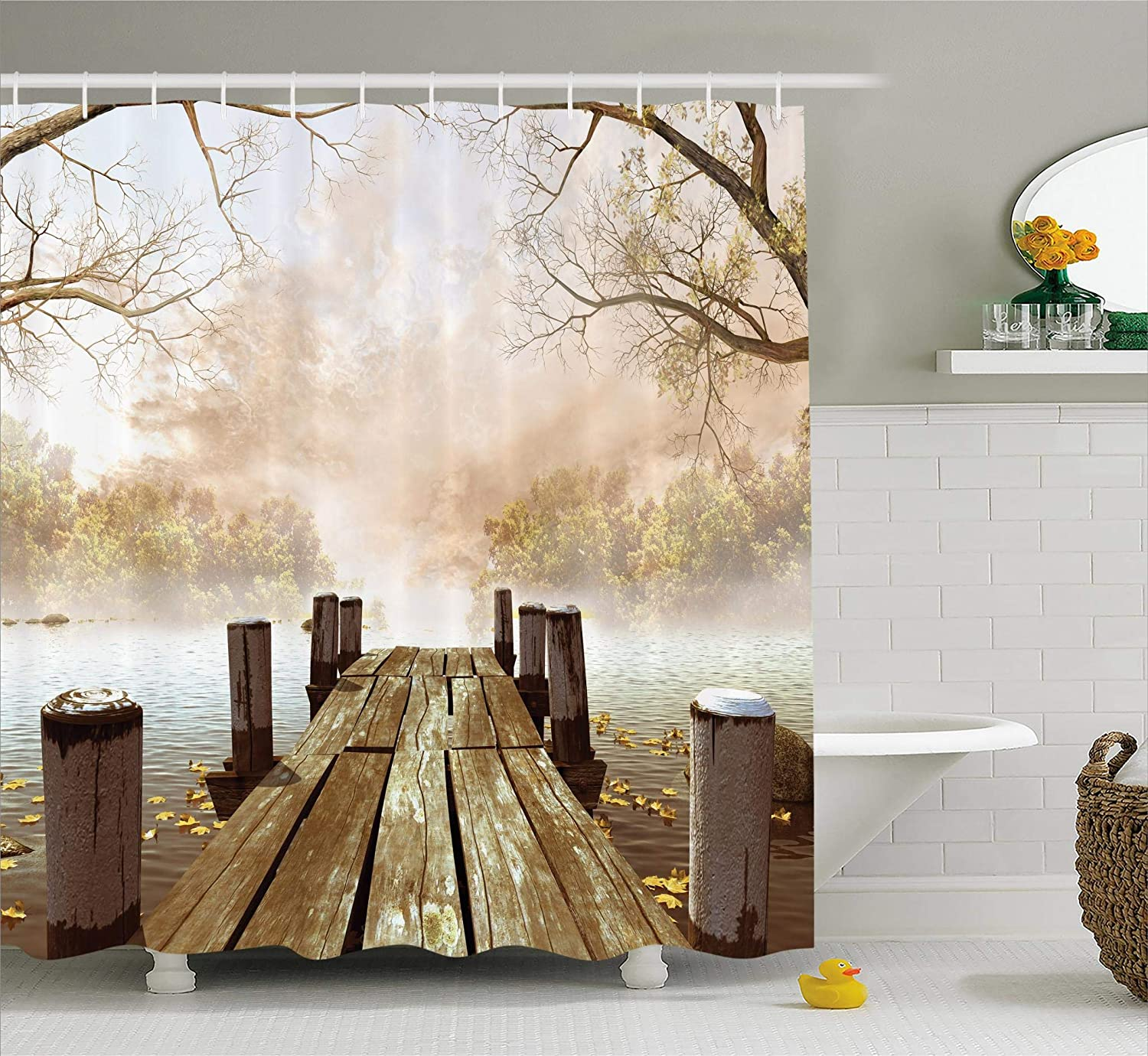 Ambesonne Shower Curtain Collection, Ocean Decor Fall Wooden Bridge Seasons Lake House Nature Country Rustic Home Art Paintings Pictures for Bathroom Seascape Decorations, Brown Beige Khaki Yellow