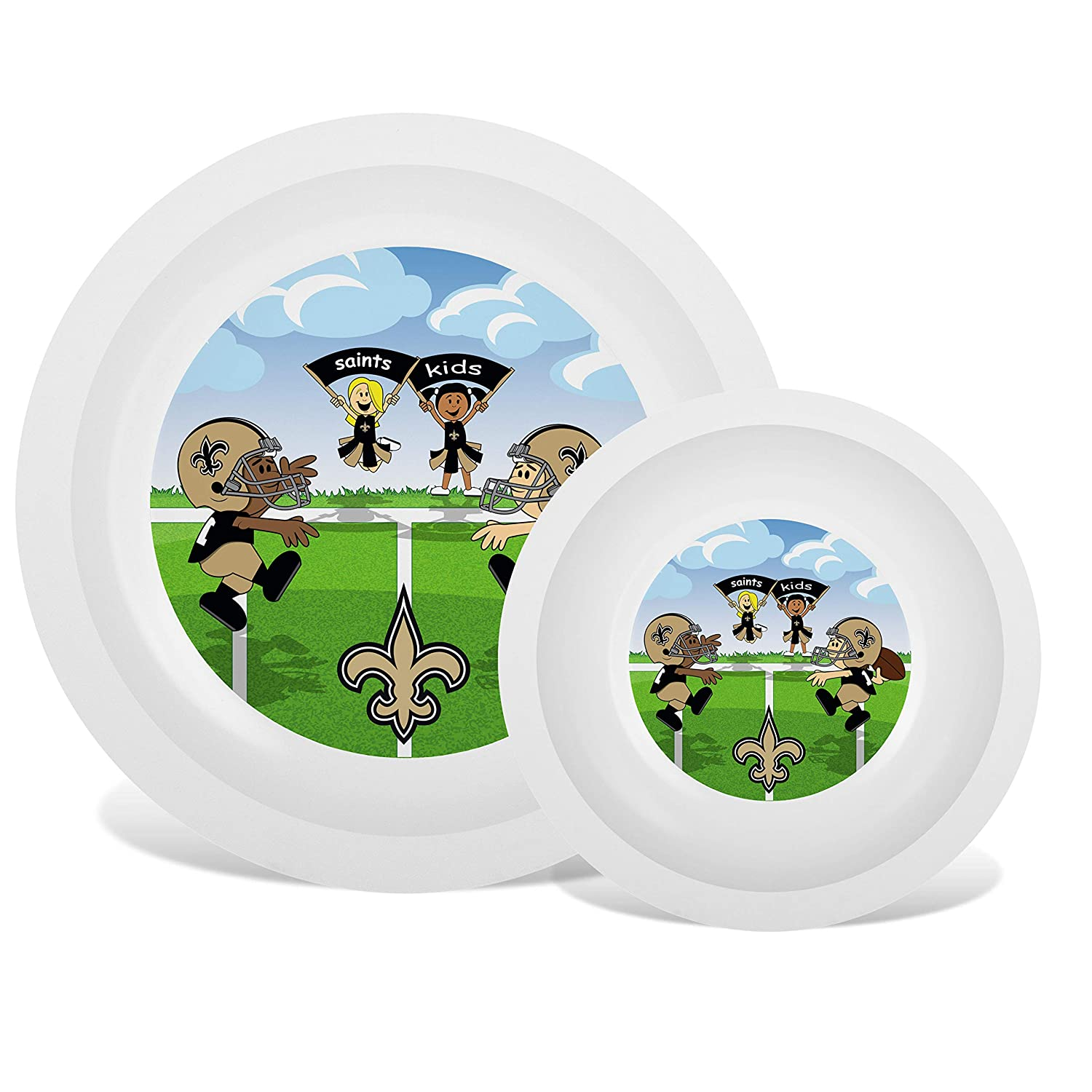 Baby Fanatic NFL Legacy Infant Plate & Bowl Set, New Orleans Saints, for Ages 6 Months & Up