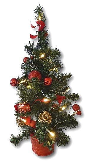 Künstlicher Weihnachtsbaum Mit Beleuchtung Kaufen.Künstlicher Tannenbaum Weihnachtsbaum 45cm Mit Led Lichterkette Beleuchtung Und Baumschmuck Weihnachtskugeln 20 Lichter Baum Geschmückt Mit Zapfen