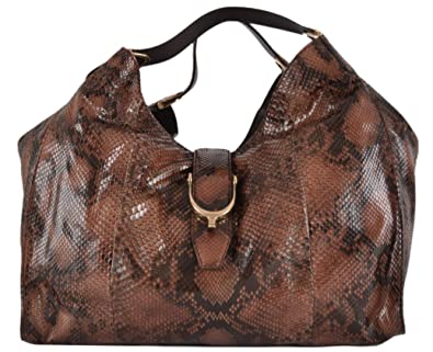 Amazon.com  Gucci Women s Large Rust Black Python Snake Stirrup Hobo ... 928e70298e476