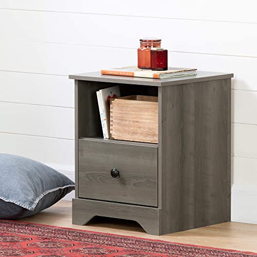 South Shore Volken 1-Drawer Nightstand-Gray Maple
