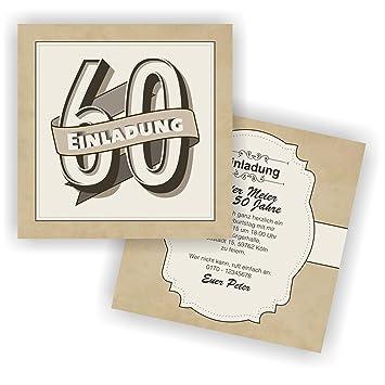 Einladung Retro 148x148mm L Einladungskarten Zum 60