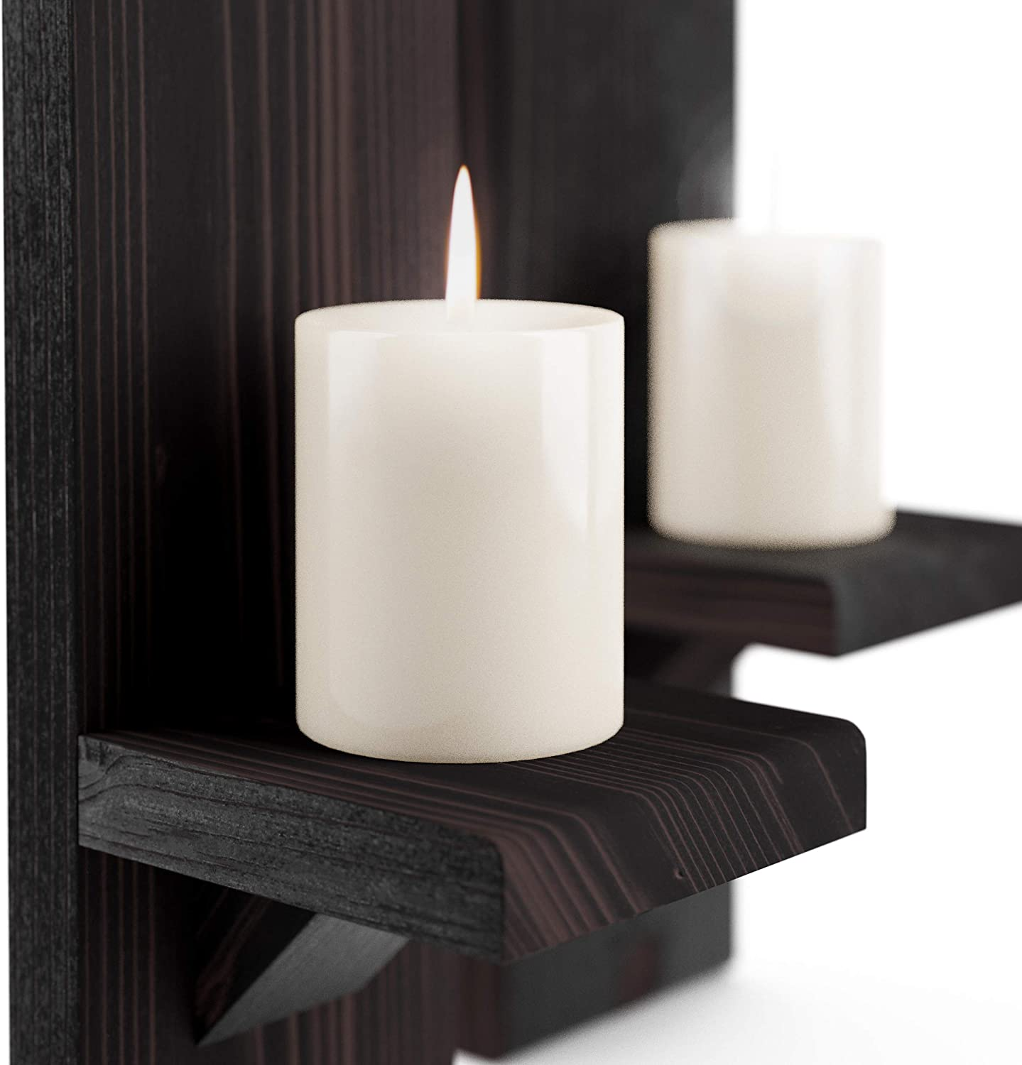 Wall-Mount Candleholders   Wood Candle Holders   Floating Shelves   Wallmounted Rustic Pillar Candle Sconce   Hanging Shelf   Farmhouse Wall Decor   Large Wooden Handmade Sconces: Kitchen & Dining