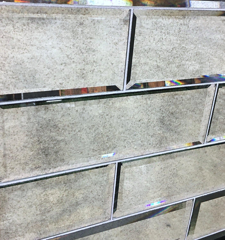 4'' x 12'' Wide Beveled Subway Antique Mirror Tile Backsplashes Walls (1sf pack; 3 pcs)