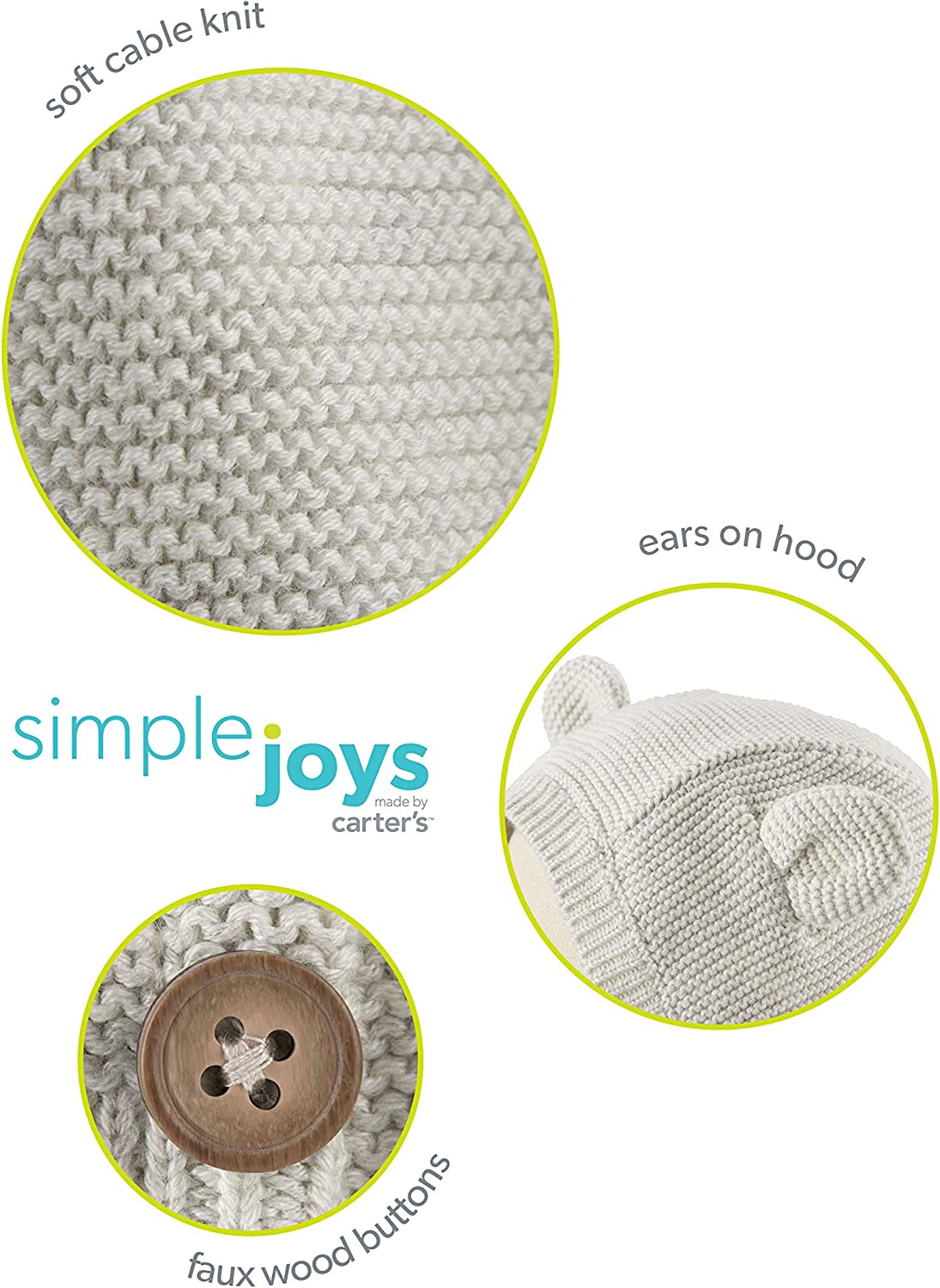 Simple Joys by Carters Baby Boys 2-Pack Neutral Knit Cardigan Sweaters Pack of 2