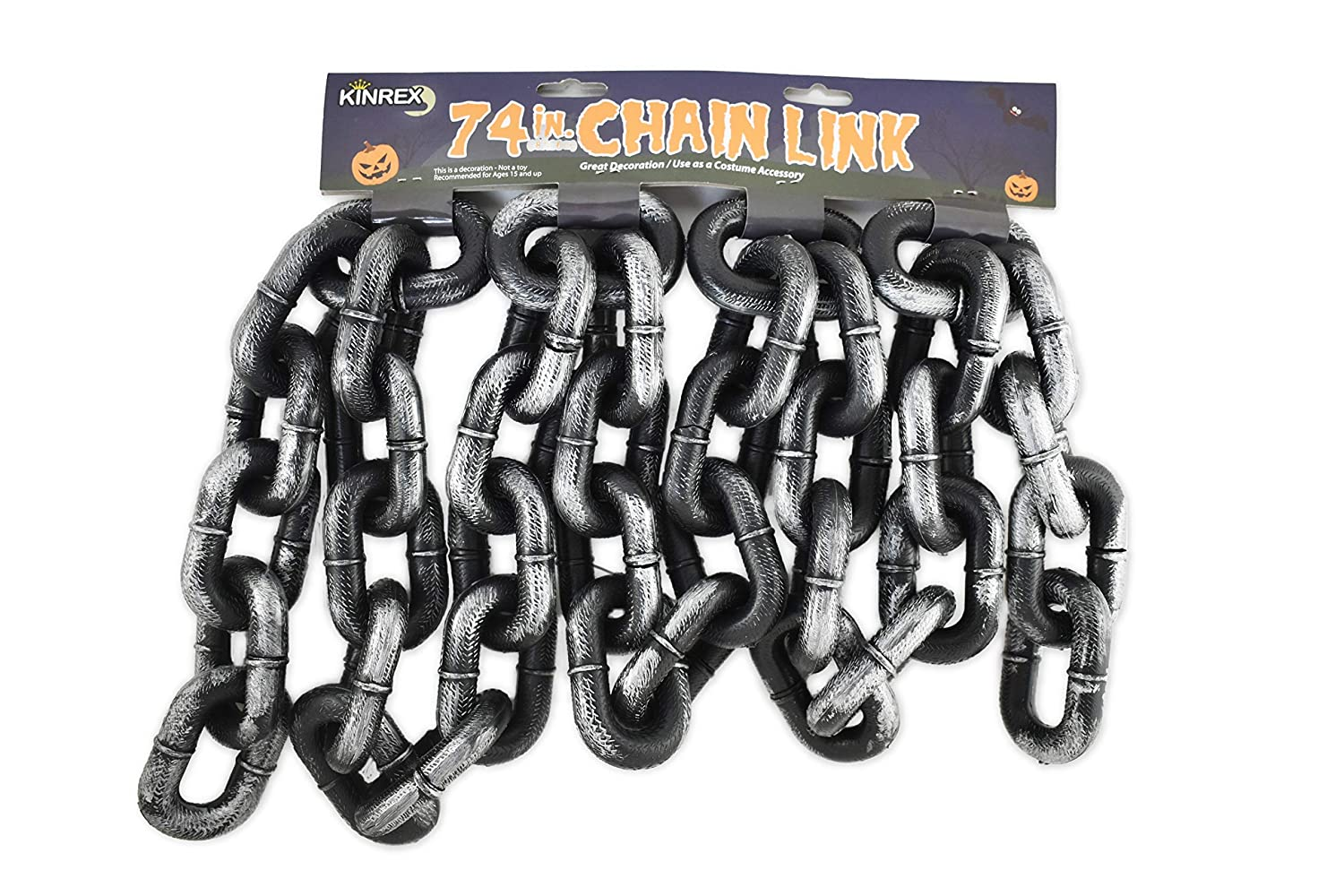 KINREX Halloween Chain Link - Halloween Costume Accessory Decoration - Grey and Black - Made of Plastic - Measures 74 Inches