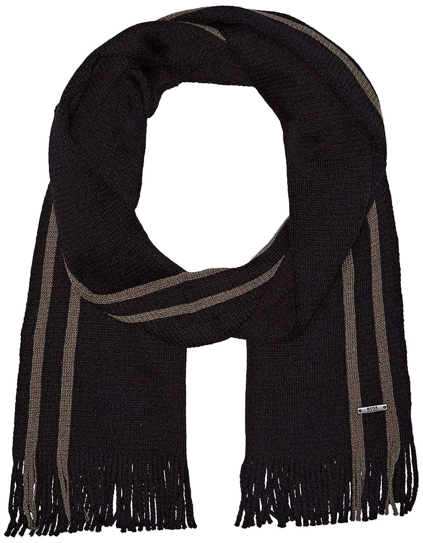Hugo Boss Men's Fador Knitted Scarf, Black One Size BOSS Hugo Boss 50395790