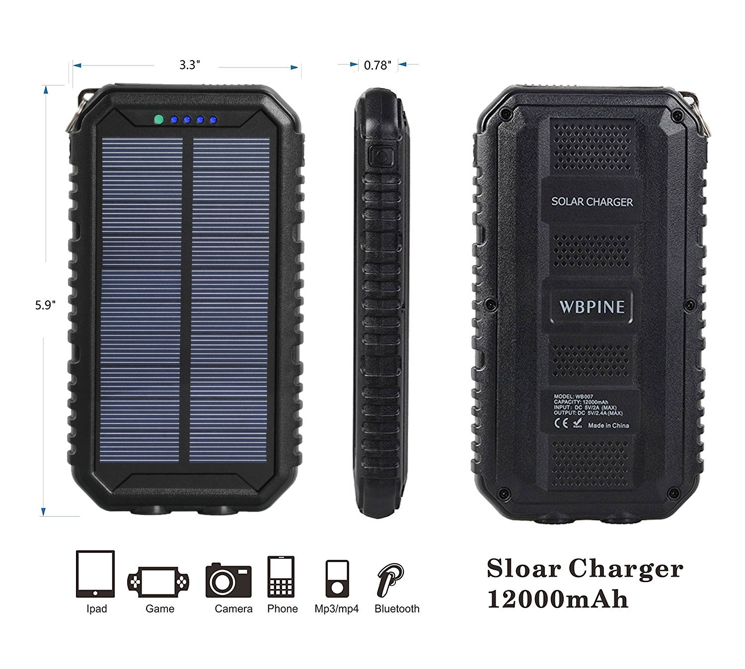 Solar Charger 12000mAh WBPINE Portable Solar Power Bank Shockproof/Dustproof/Waterproof Dual USB 2 LED Flashlights Cellphone More by WBPINE (Image #4)